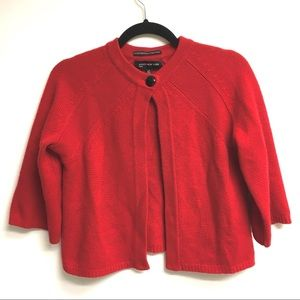 JONES NEW YORK LUXE Cashmere Cropped Cardigan Red